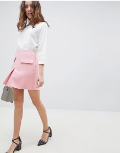 Read more about Asos design a line mini skirt with pocket front detail - blush