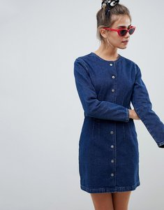 Read more about Asos design denim collarless dress in mid wash - blue