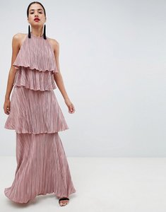 Read more about Asos design tiered plisse maxi dress - mink