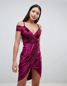 Read more about Ax paris wrap front velvet dress - plum