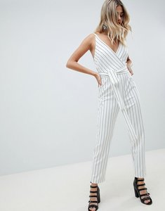 Read more about Asos design wrap front jumpsuit with peg leg and self belt in stripe - mono stripe