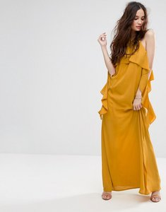 Read more about Missguided ruffle sleeve cold shoulder maxi dress - mustard