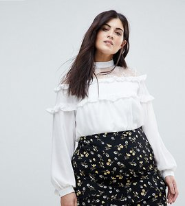 Read more about Fashion union plus high neck blouse with high neck and ruffle detail - white