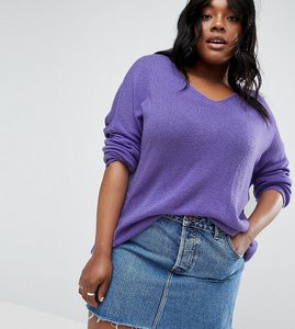 Read more about Asos curve jumper in sheer knit with v neck - purple