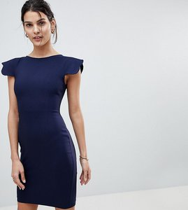 Read more about Vesper pencil dress with scallop sleeve - navy