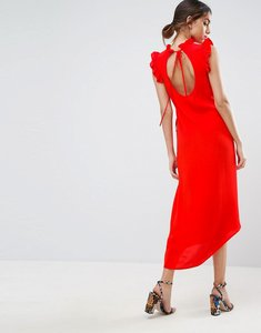 Read more about Asos sleeveless maxi tea dress with cut out back - red