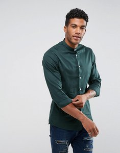 Read more about Asos design skinny shirt in dark teal with grandad collar - dark teal