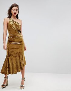 Read more about Asos one shoulder velvet drop hem midi dress - gold