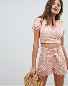 Read more about Missguided polka dot wrap front top - peach