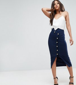 Read more about Asos tall tailored high waist pencil skirt with military button detail - navy
