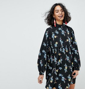 Read more about Reclaimed vintage inspired smock dress in floral print - black
