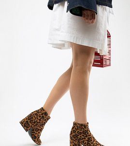 Read more about Lost ink wide fit leopard print ankle boots - leopard