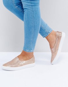Read more about Head over heels by dune reptile plimsolls - rose gold reptile