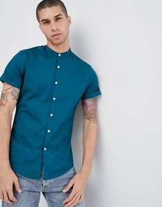 Read more about Asos design slim shirt with grandad collar in teal - teal