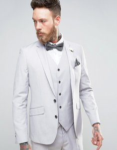 Read more about Devils advocate wedding skinny fit pale grey suit jacket with floral lapel pin - grey