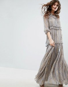 Read more about Needle thread lace maxi dress with ruffle neck - dust blue print
