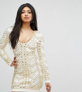 Read more about Starlet plunge front mini dress with all over embellishment in gold - white gold