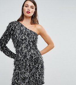 Read more about A star is born one shoulder mini dress in 3d embellishment - black