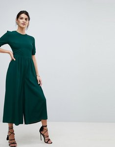 Read more about Asos design tea jumpsuit with ruched sleeve detail - bottle green