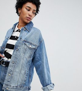 Read more about Asos design tall denim girlfriend jacket in midwash blue - blue