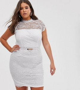 Read more about Paper dolls plus peplum midi lace dress with belt in white