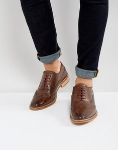 Read more about Asos design brogue shoes in brown leather with natural sole - brown