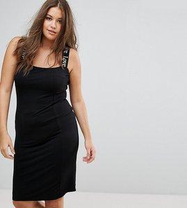 Read more about Asos curve love shoulder strap midi bodycon dress - black
