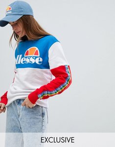 Read more about Ellesse oversized sweatshirt with rainbow logo taping in colour block - white multi