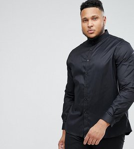 Read more about Heart dagger plus size skinny shirt with grandad collar - black