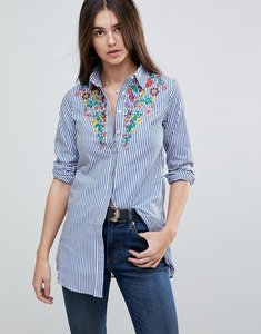 Read more about Glamorous stripe shirt with embroiderry - blue white stripe