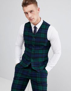 Read more about Asos design wedding super skinny suit waistcoat in blackwatch tartan check - green