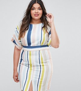 Read more about Closet london plus striped kimono sleeve pencil dress - multi
