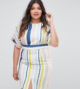 Read more about Closet london plus striped kimono sleeve pencil dress - multi