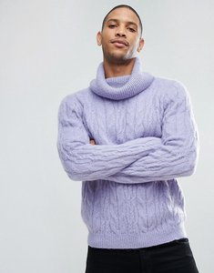 Read more about Asos cable knit mohair wool blend jumper with funnel neck in lilac - lilac