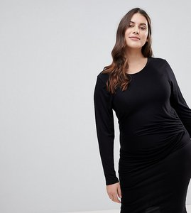 Read more about Lipsy curve bodycon midi dress with knot front detail - black