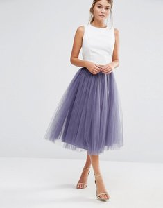 Read more about Little mistress tulle midi prom skirt - grey