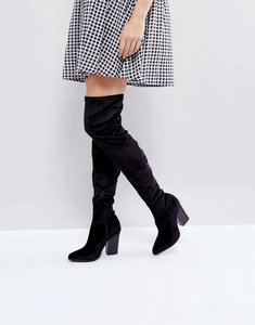 Read more about London rebel velvet block point toe over knee boot - black velvet