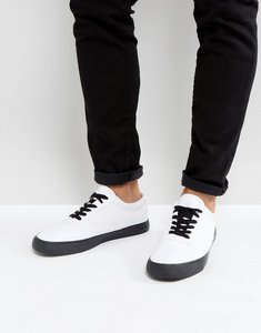 Read more about Asos lace up plimsolls in white canvas with black contrast details - white