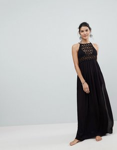 Read more about Asos premium crochet panel maxi beach dress - black