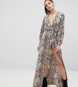 Read more about Missguided tall exclusive tall maxi wrap dress with side splits in snake