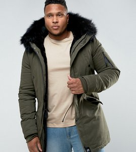 Read more about Sixth june plus parka jacket in khaki with faux fur hood - khaki