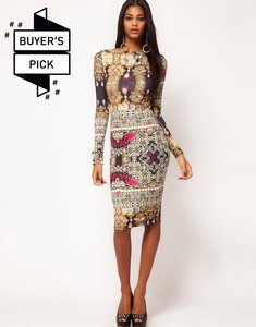 Read more about Asos bodycon dress in jewel print - print