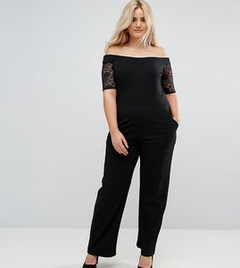 Read more about Pink clove lace bardot wide leg jumpsuit - black