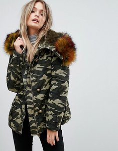 Read more about Prettylittlething camo faux fur trim jacket - green