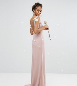 Read more about Tfnc tall wedding high neck maxi dress with embellished low back - mauve
