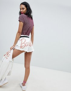 Read more about Missguided barbie glitter logo denim shorts - white