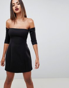 Read more about Asos design scuba bardot mini shift dress - black