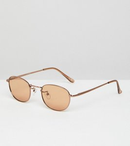 Read more about Asos 90s oval fashion sunglasses in light brown lens - bronze