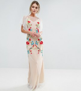 Read more about Hope ivy embroidered sheer maxi dress with fishtail and flutter sleeve - white nude multi