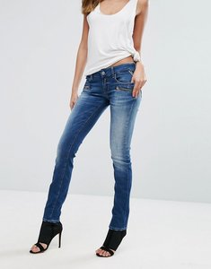 Read more about Replay mid rise biker jeans with zip pockets - medium blue